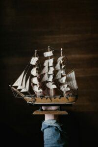white-and-brown-galleon-ship