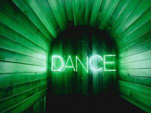 brown-door-with-dance-neon-lights