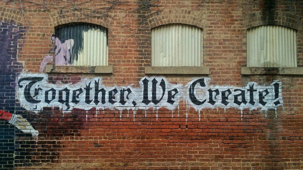 white-and-black-Together-We-Create-graffiti-wall-decor